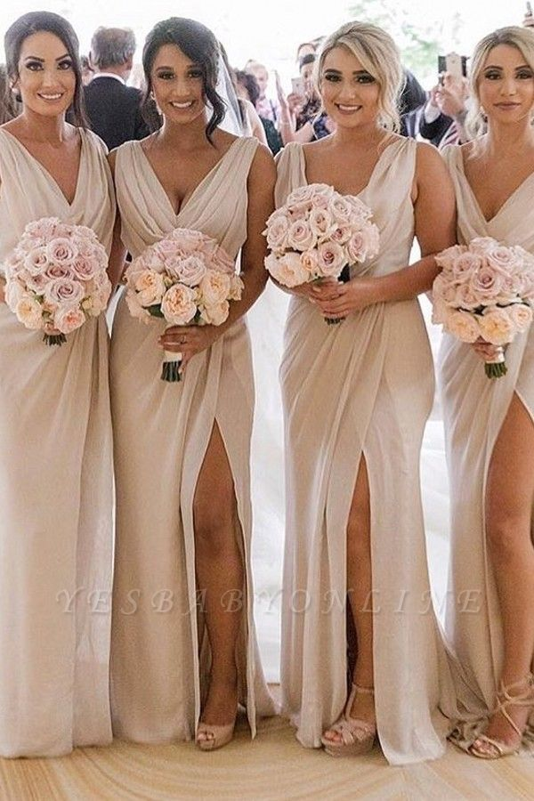 Simple Chiffon Long Bridesmaid Dresses | V-Neck Sleeveless Side-Slit Prom Dresses