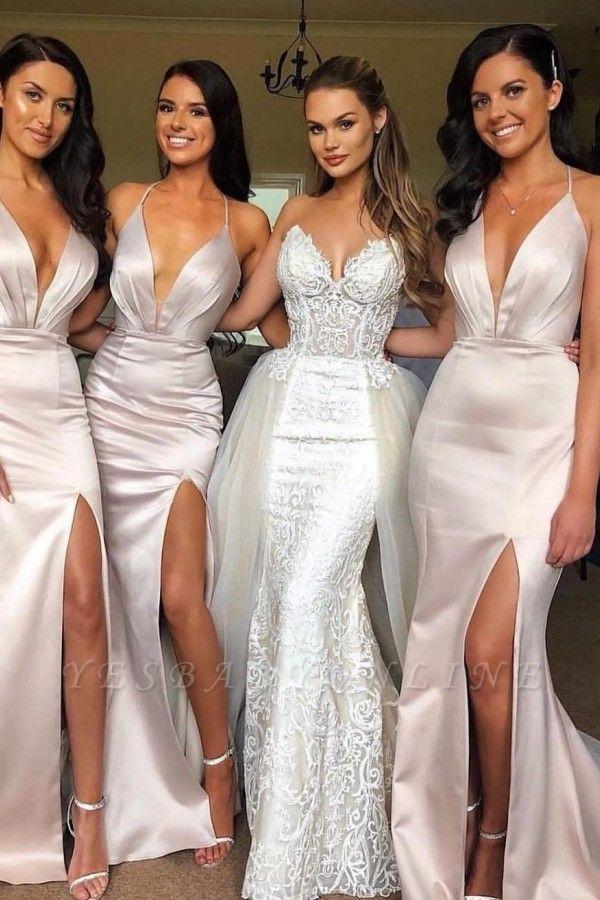 Sexy Slit Mermaid Bridesmaid Dresses | Spaghetti Straps Long Wedding Party Dresses