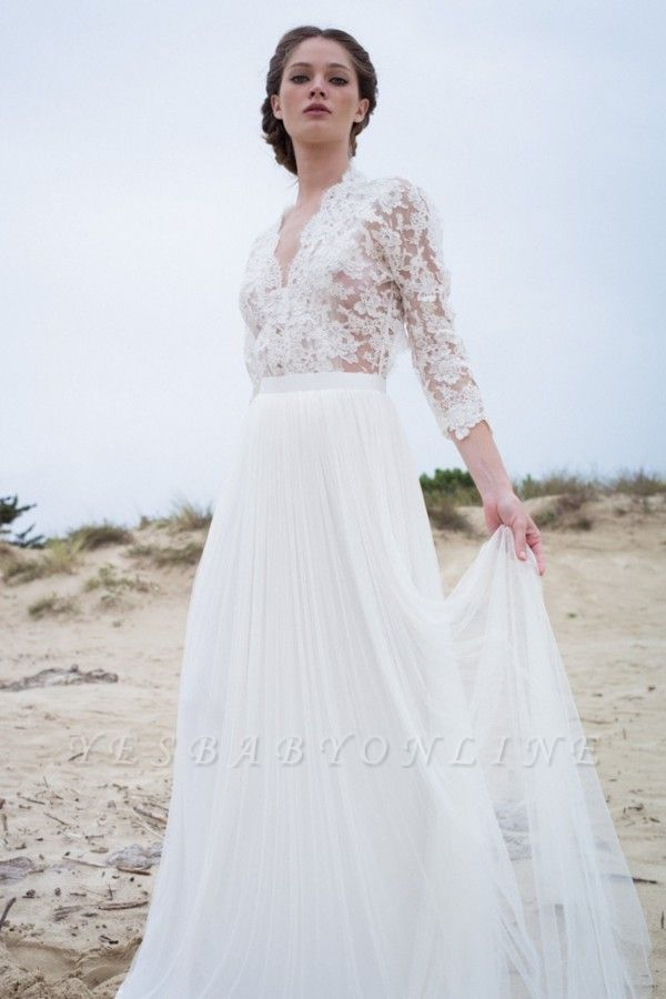 A-line Modern 3/4-Length-Sleeves Lace V-neck Simple Wedding Dress