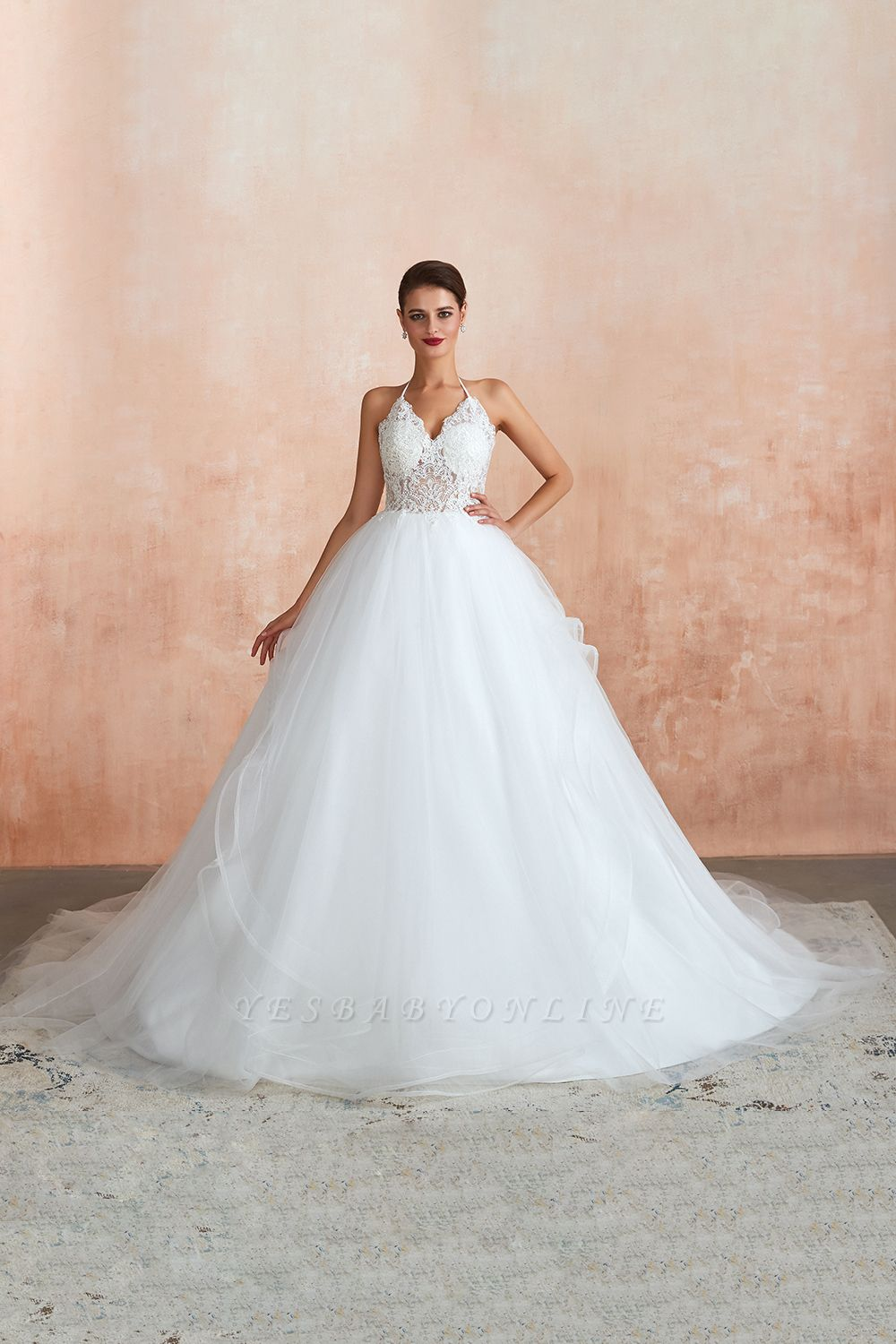 Halter Backless Ball Gown Wedding Dresses   Affordable Tulle Bridal Gowns