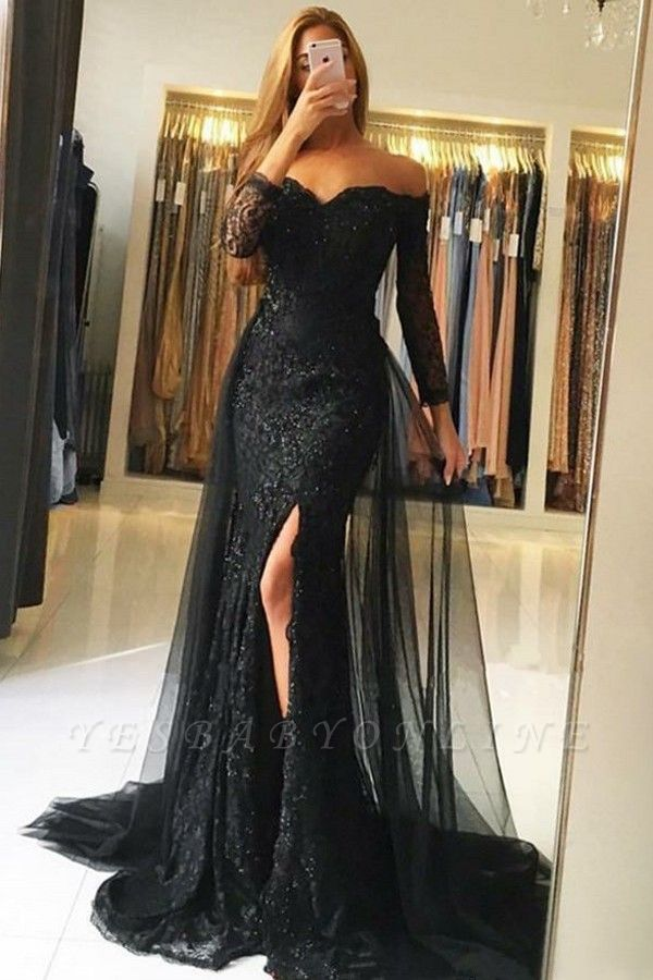 Off-the-Shoulder Side-Slit Sexy Overskirt Black  Evening Gowns