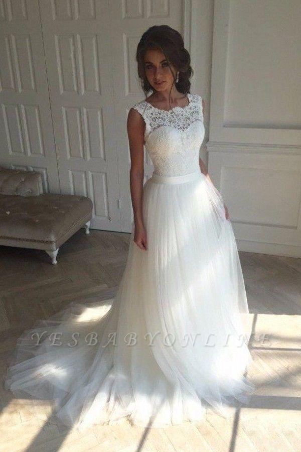 Open-Back Sash Sleeveless Lace Simple A-line Wedding Dresses