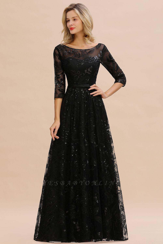 A-line Round Neckline Sexy Lace Prom Dresses | Black Evening Dresses