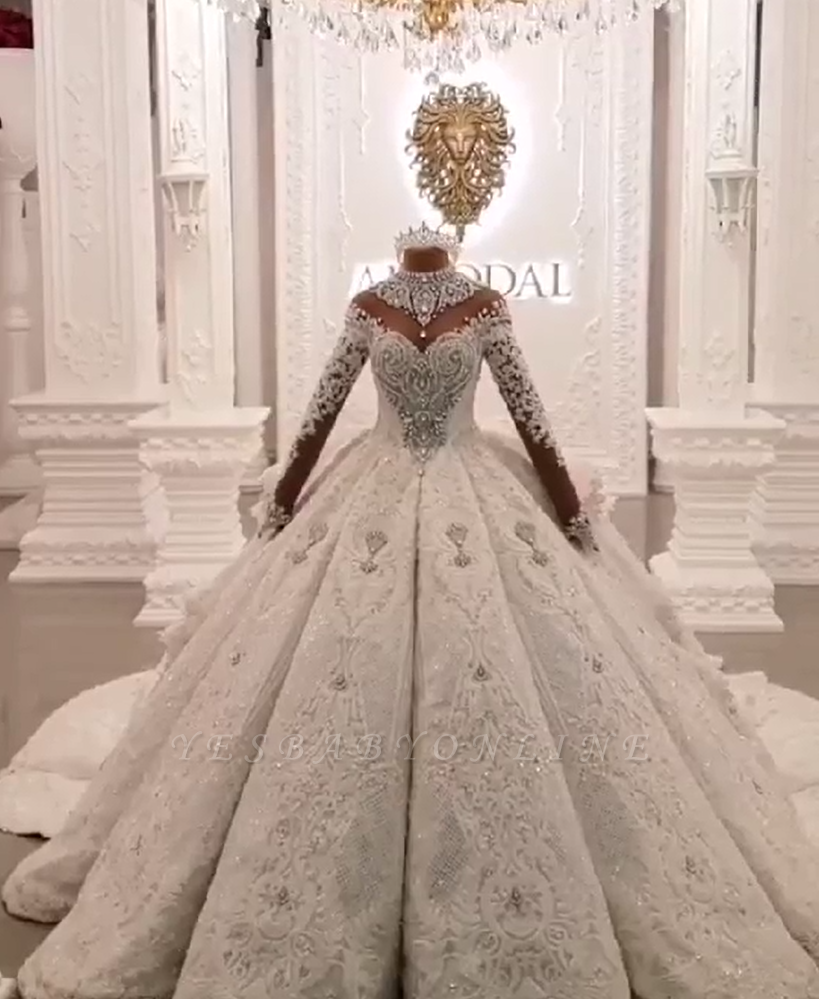 Luxury High Neck Long Sleeves Crystal Ball Gown Wedding Dress | Haute Couture Bridal Gowns