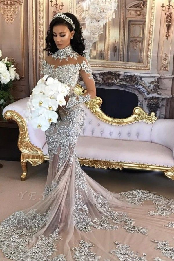 High-Neck Silver Long-Sleeve Lace Charming Mermaid Wedding Dresses
