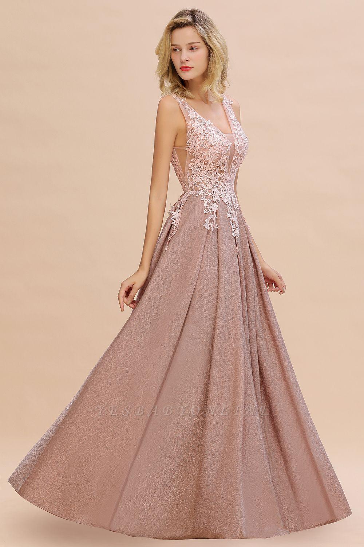 Elegant Sleeveless V-neck Floor Length Appliques Prom Dresses | Backless Evening Dresses