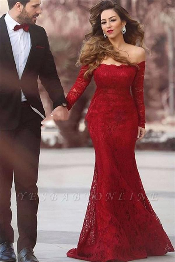 Long-Sleeve Red Mermaid Long Elegant Lace Off-the-shoulder Evening Dress
