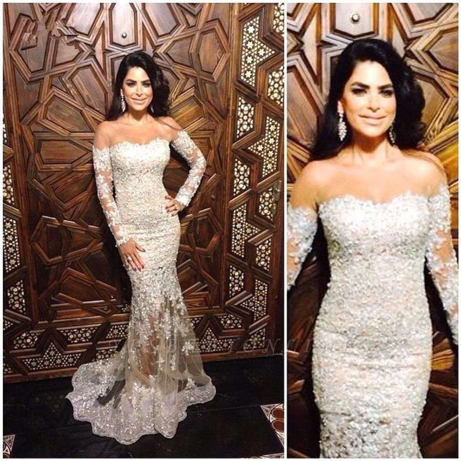 Off-The-Shoulder Appliques Sexy Mermaid Charming Lace Long-Sleeve Illusion Evening Dress