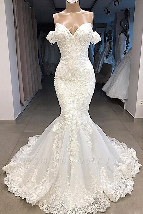 Off the Shoulder Mermaid Lace Wedding Dresses | Sexy Fit-and-Flare Bridal Gowns
