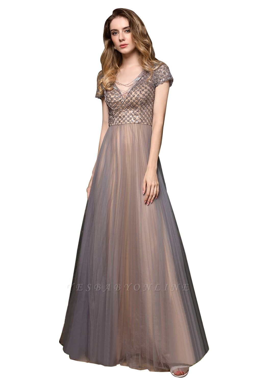 Elegant Short Sleeve Beading Floor Length a line prom dresses  Scaoop cheap graduation dress