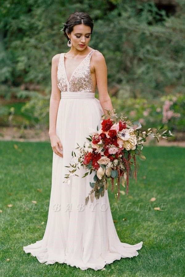 Sequined Wedding Dress with Bowknot | Casual Wedding Dresses for Beach Ceremony and Barn Wedding