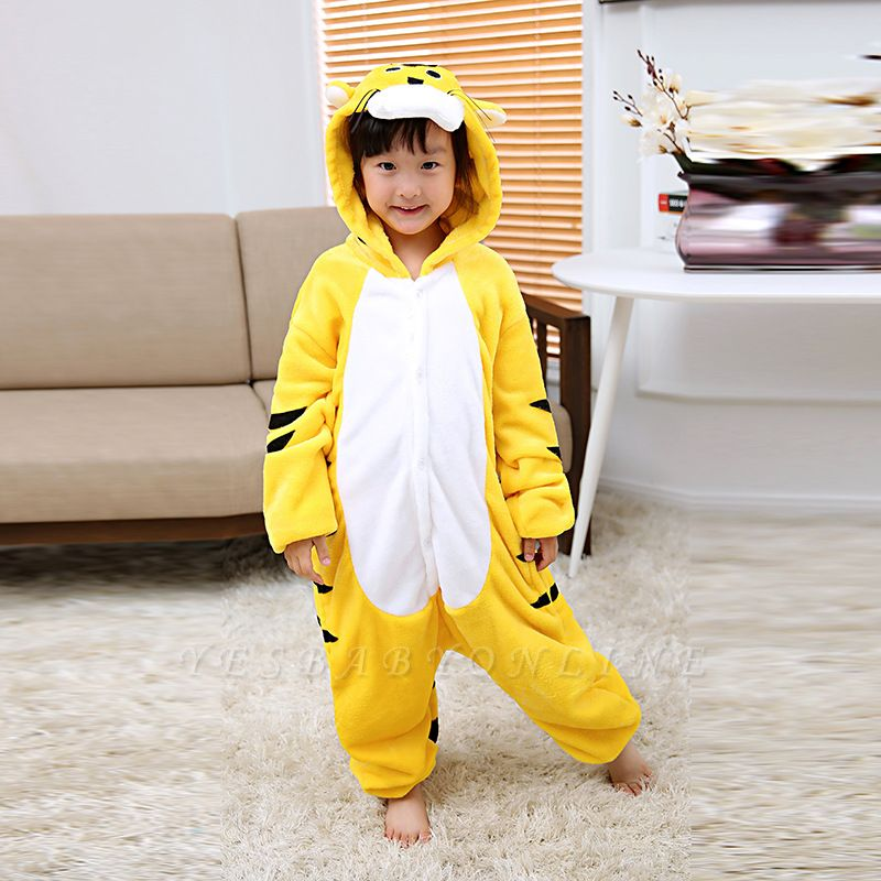 Cute Animal Pyjamas for Kids Tiger Onesies, Yellow