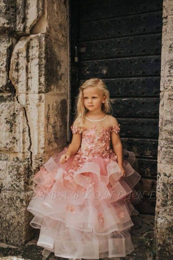 Jewel Short Sleeves Tiered Tulle Flower Girl Dresses with Handmade Flowers