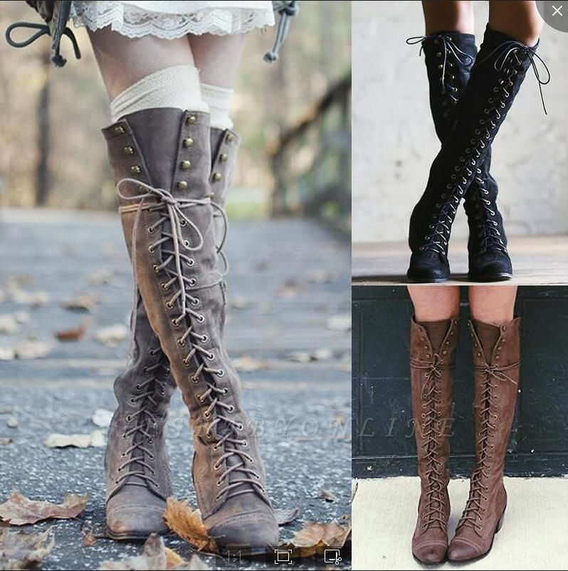Fashion Lace-Up Knee High Women's Boots