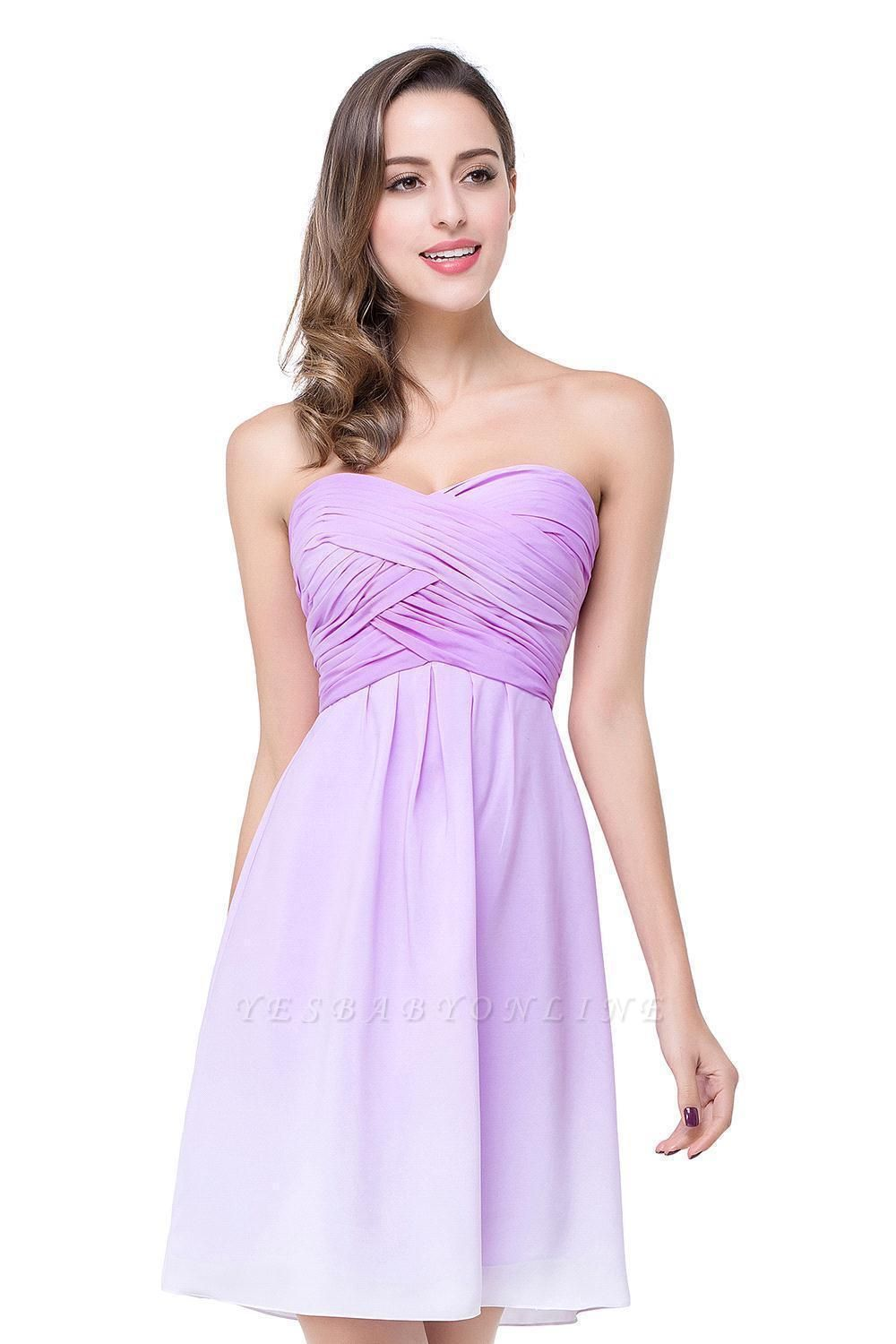 Cheap A-line Strapless Chiffon Bridesmaid Dress with Draped in Stock