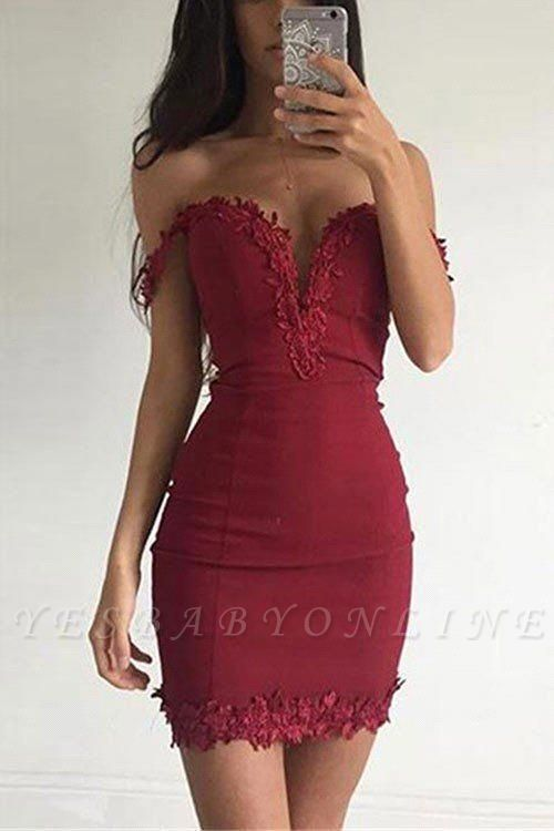 Sexy Burgundy Sheath Homecoming Dresses Off-the-shoulder Lace Appliques Tight Cocktail Dress