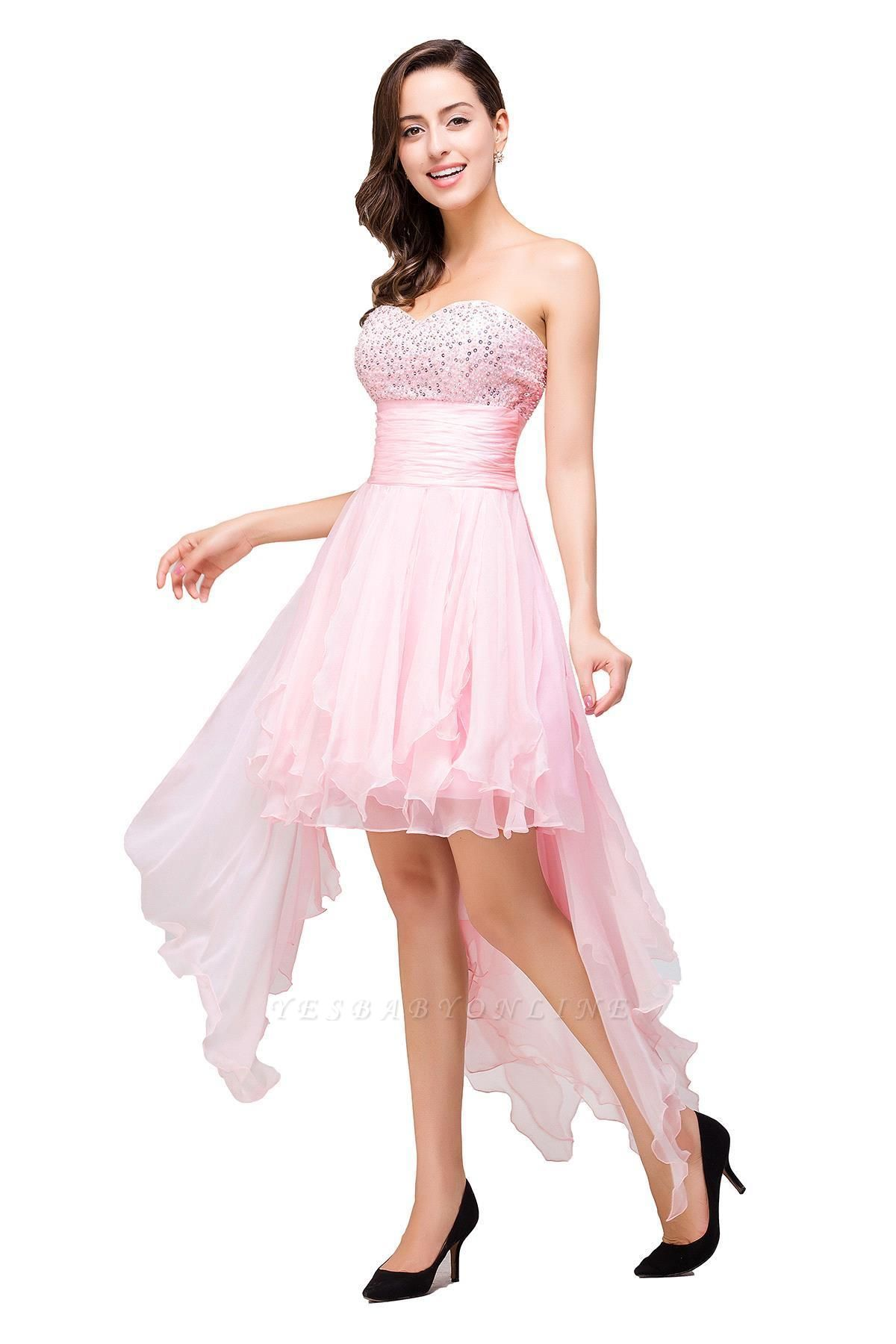 New Arrival A-Line Mini Crystal Sweetheart Ruffles  Homecoming Dress