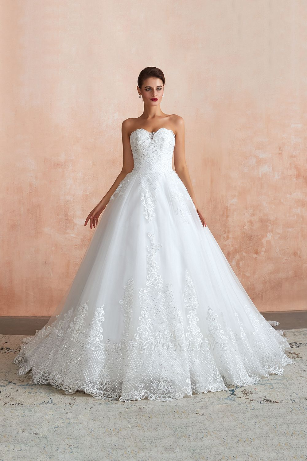 Floor Length Strapless Sweetheart A-line Gorgeous Lace Wedding Dresses