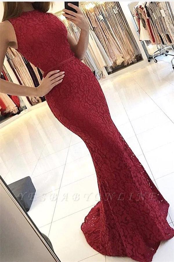 Sleeveless Lace Mermaid Elegant Sweep-Train Red Prom Dresses