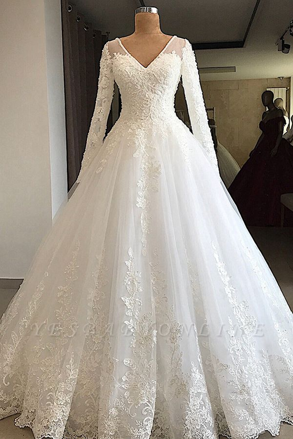 Luxury V Neck Long Sleeve A-Line Applique Wedding Dresses | Lace Beading Ruffles Puffy Bridal Gown