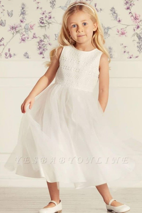 Jewel Sleeveless Tea Length Lace Tulle Flower Girl Dresses | Dress for Flower Girls