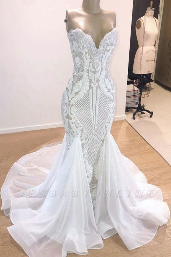 Strapless  Sweetheart Mermaid Lace Sexy Wedding Dresses | Fit-and-Flare Bridal Gowns