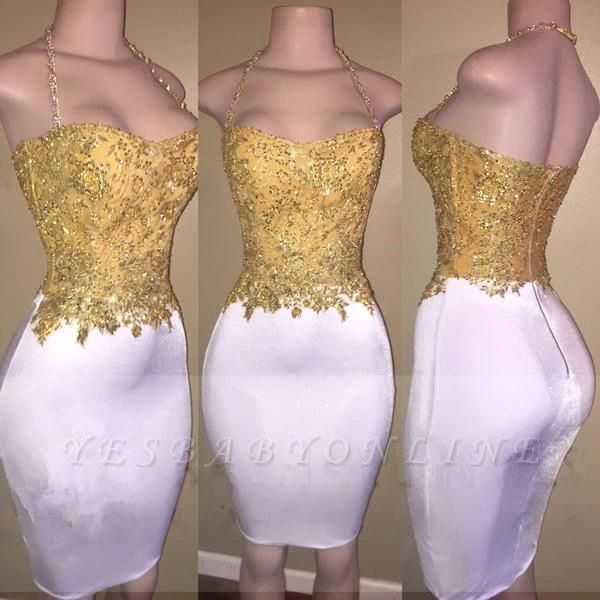 2019 Gold and White Prom Dresses Lace Beading Sheath Short Homecoming Dress