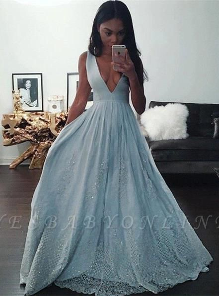 Pretty Beading Lace Baby-Blue V-neck Sleeveless Prom Dress