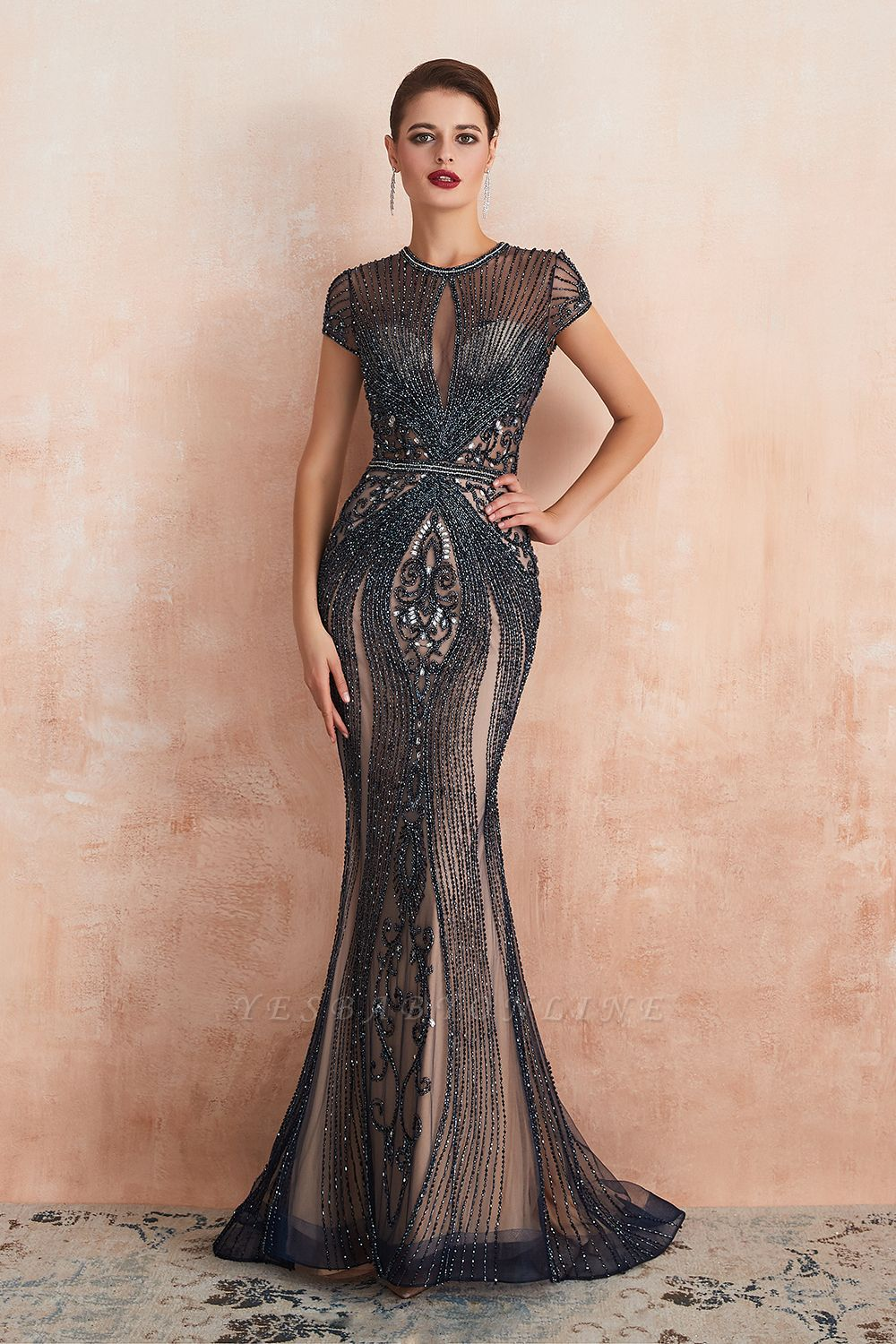 Cap Sleeves Keyhole Jewel Gorgeous Beaded Long Prom Dresses | Elegant Long Evening Dresses