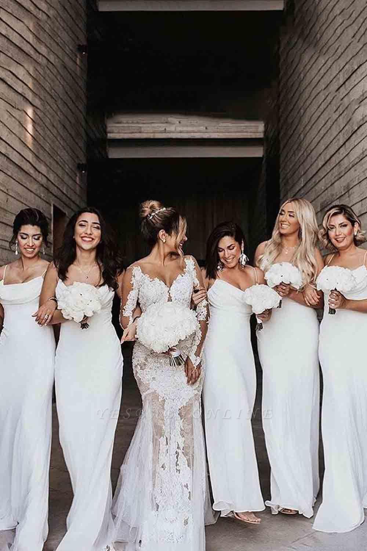 Floor Length Spaghetti Straps Elegant White Bridesmaid Dresses | Gorgeous Wedding Guest Dresses