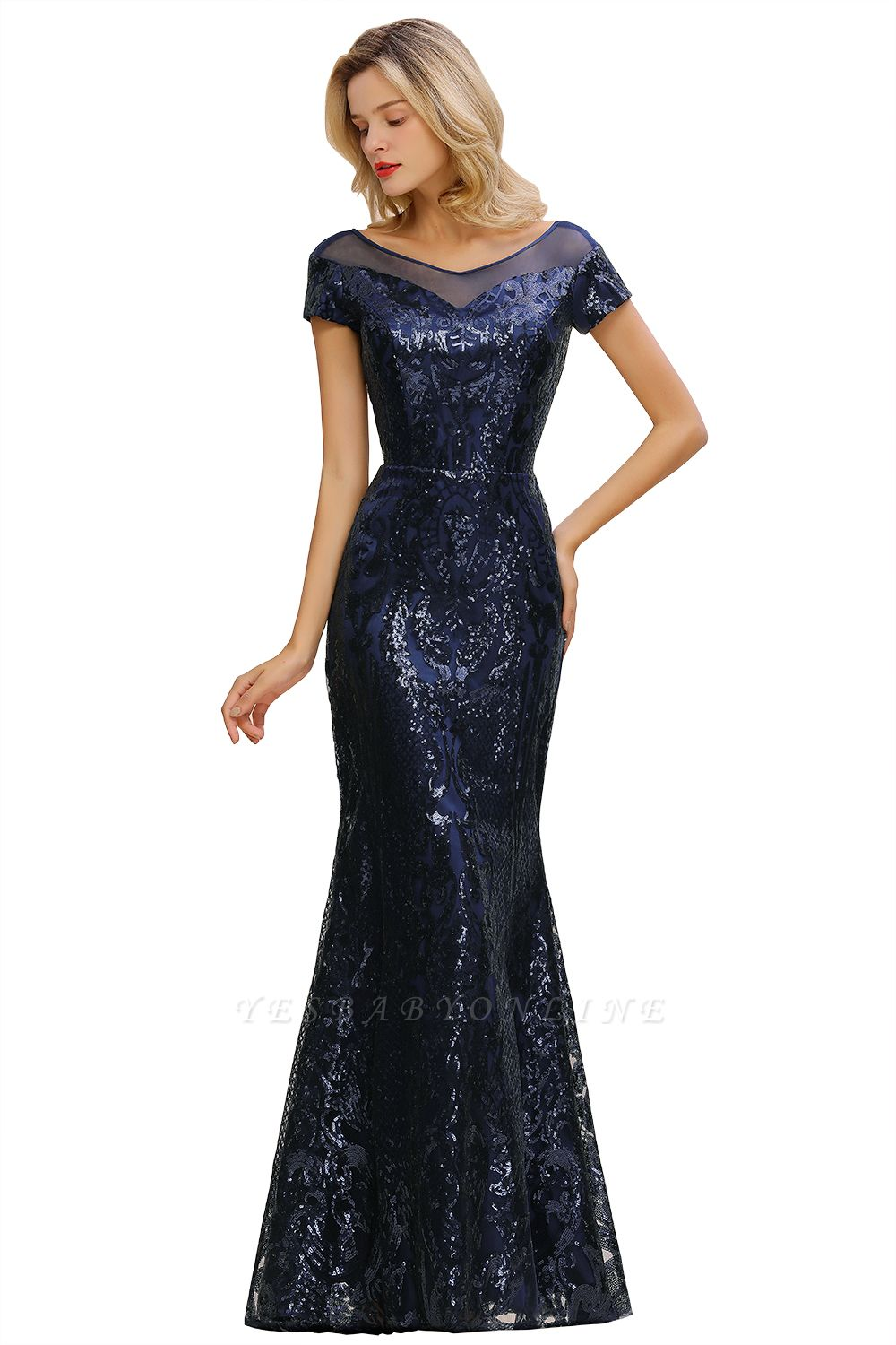 Bateau Short Sleeves Long Sequins Prom Dresses   Floor Length Fitted Evening Dresses