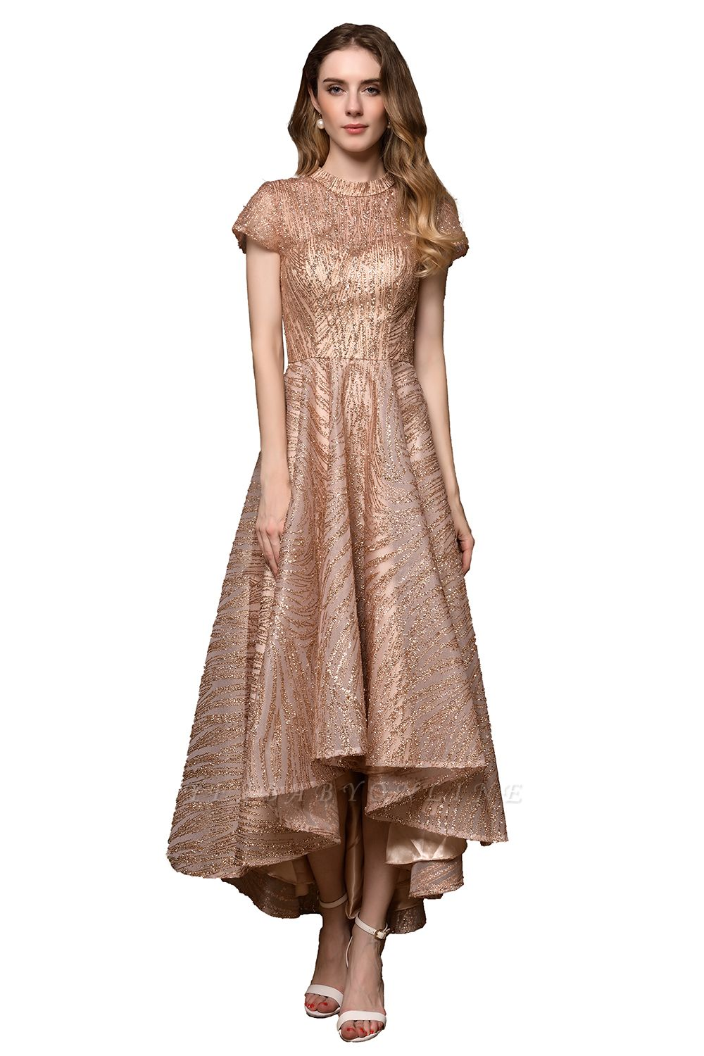 Champagne High Neck Short Sleeve Sequined A Line Prom Dress   Tea Length Ruffles Evening Gown