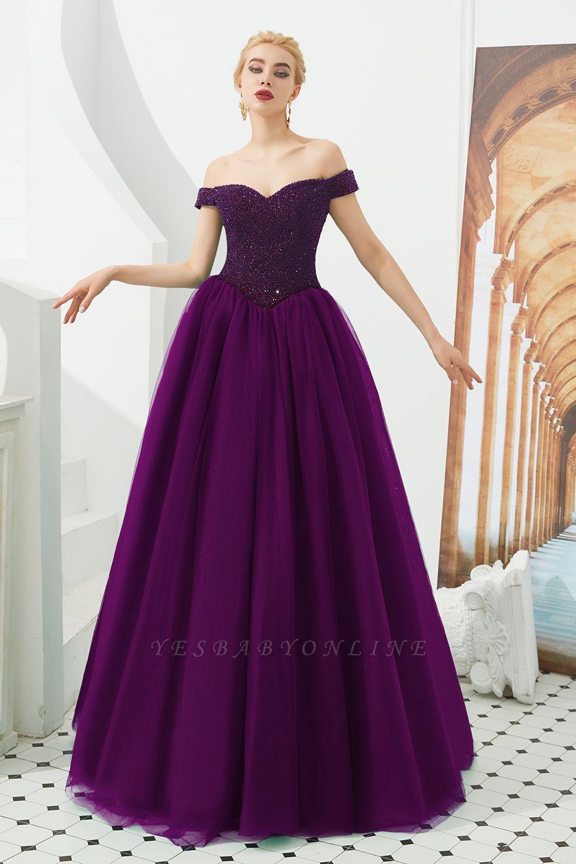 Off the Shoulder Sweetheart Jade A-line Long Prom Dresses | Elegant Evening Dresses