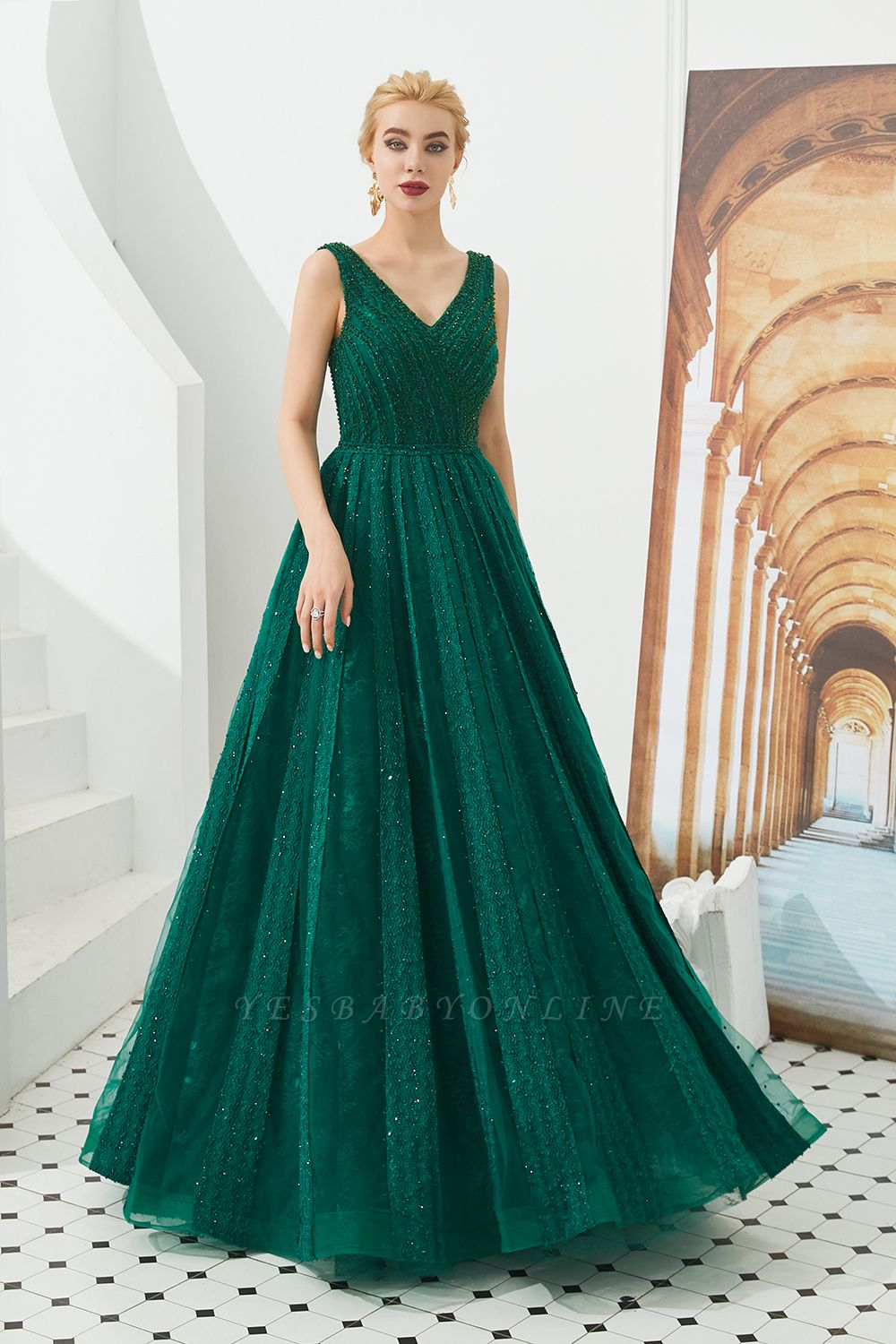 Gorgeous Straps V-neck A-line Long Prom Dresses | Jade Floor Length Evening Dresses