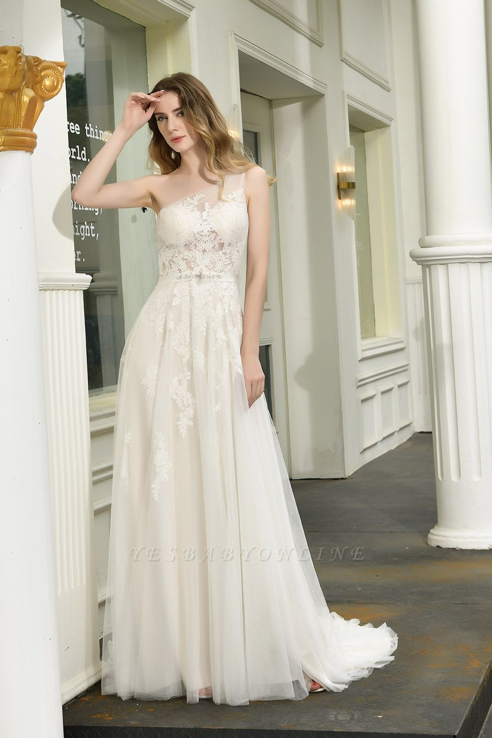 One Shoulder Tulle Sexy A-Line Lace Wedding Dress