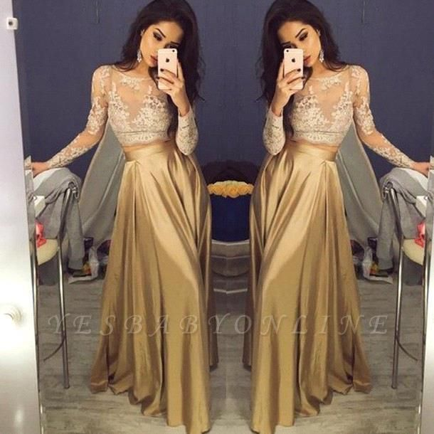 Gold Two-Piece Prom Dresses 2019 Lace Long Sleeves A-line Evening Gowns