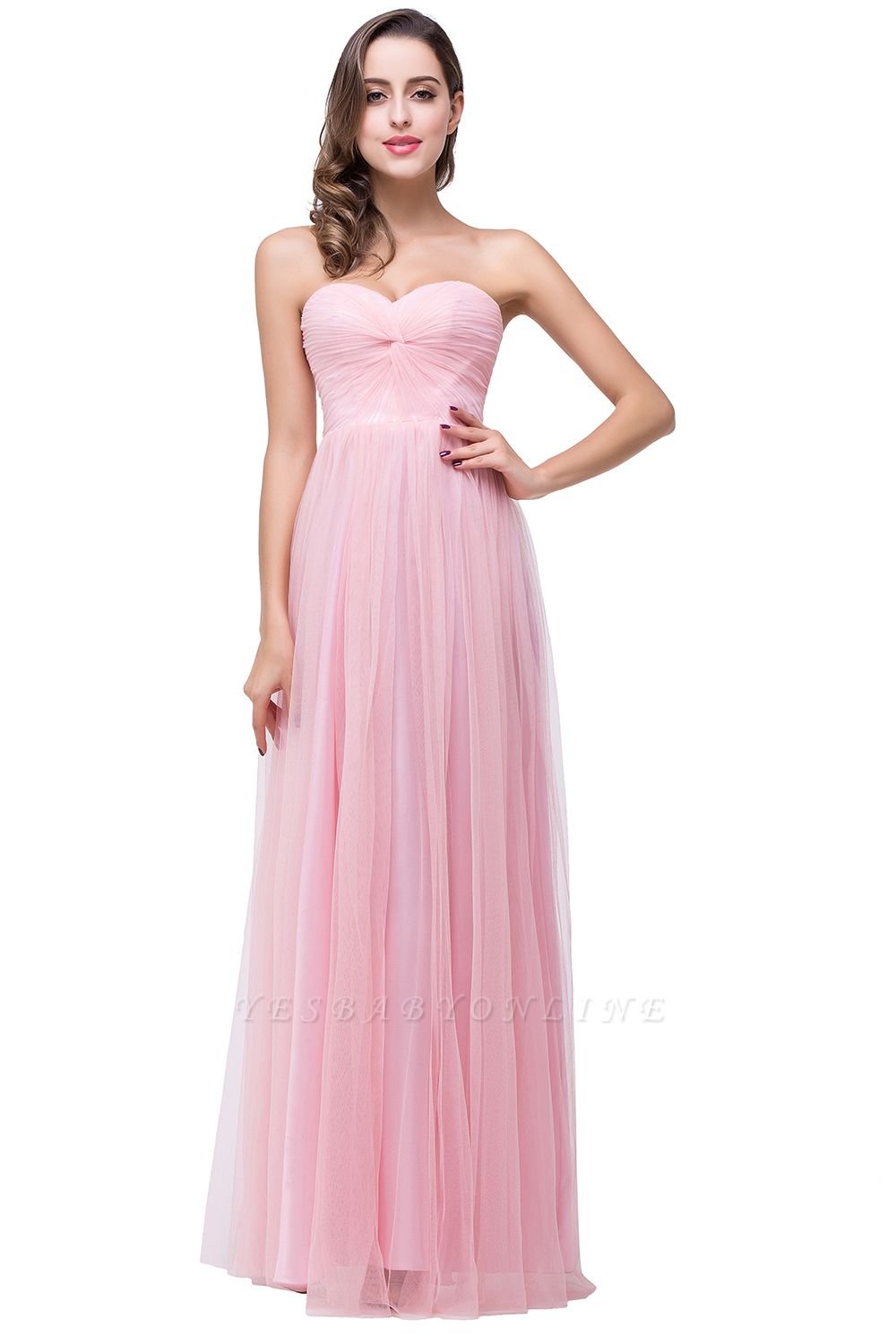 ADRIANNA | A-line Strapless Sweetheart Tulle Ruched Bridesmaid Dress