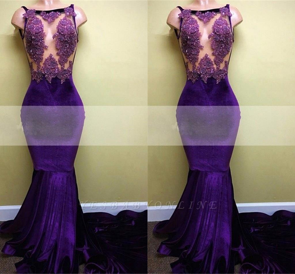 Velvet Appliques Sleeveless Mermaid Elegant Prom Dress