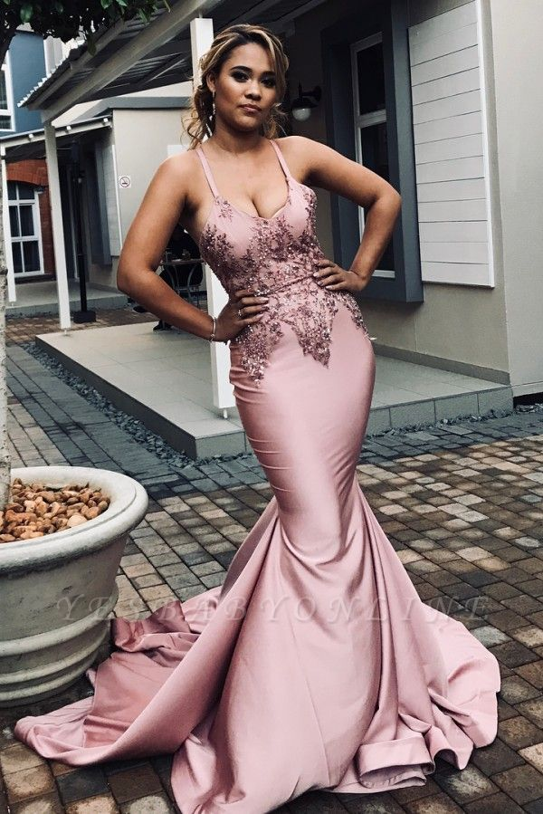 Spaghetti Straps Appliques Sexy Mermaid Prom Dresses | African Style Prom Dresses