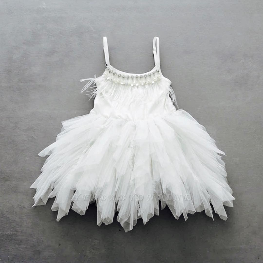 Spaghetti Straps Cute Tea Length Feather Flower Girl Dresses