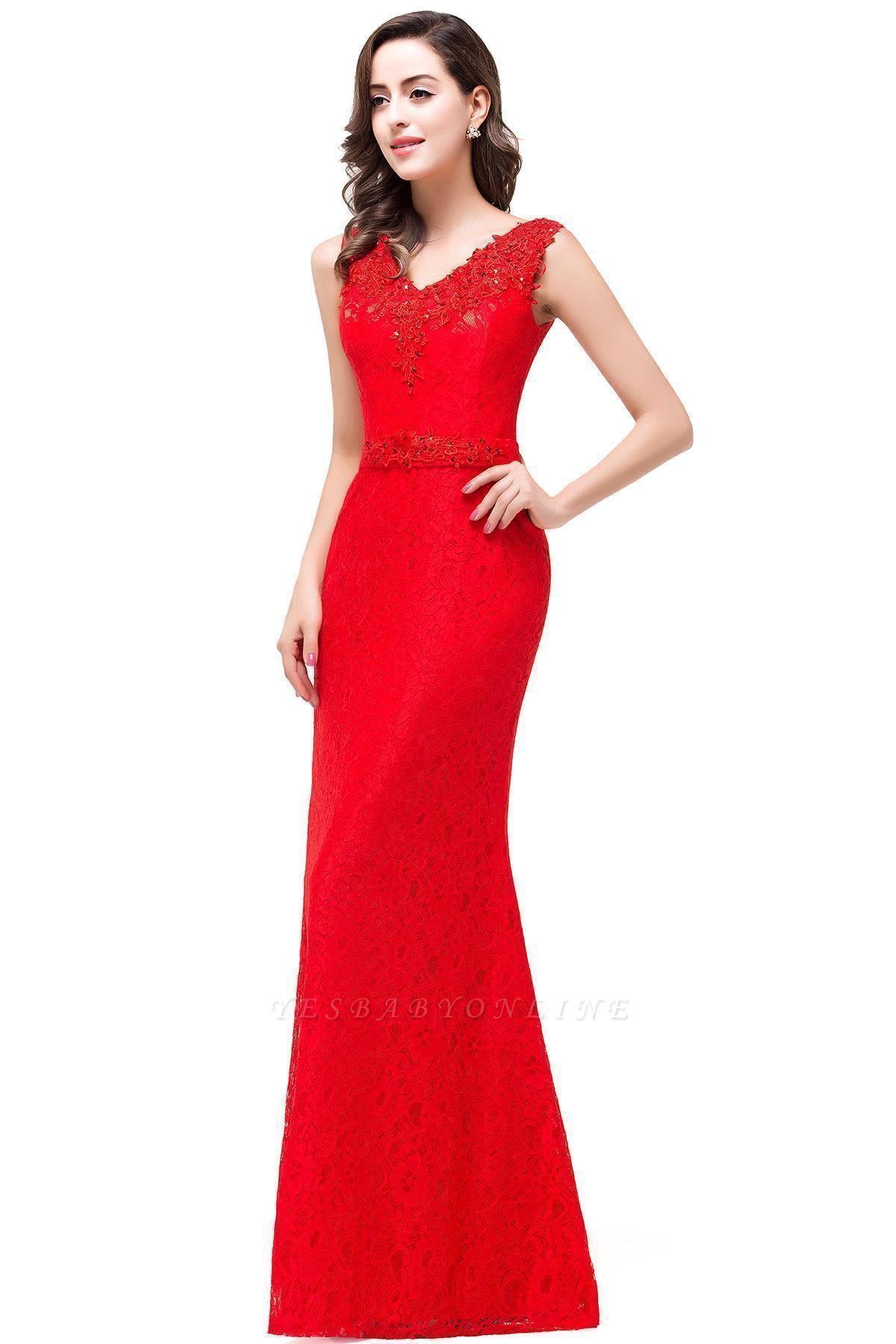Long V-neck Floor-length Red Two-straps Sleeveless Prom Dress