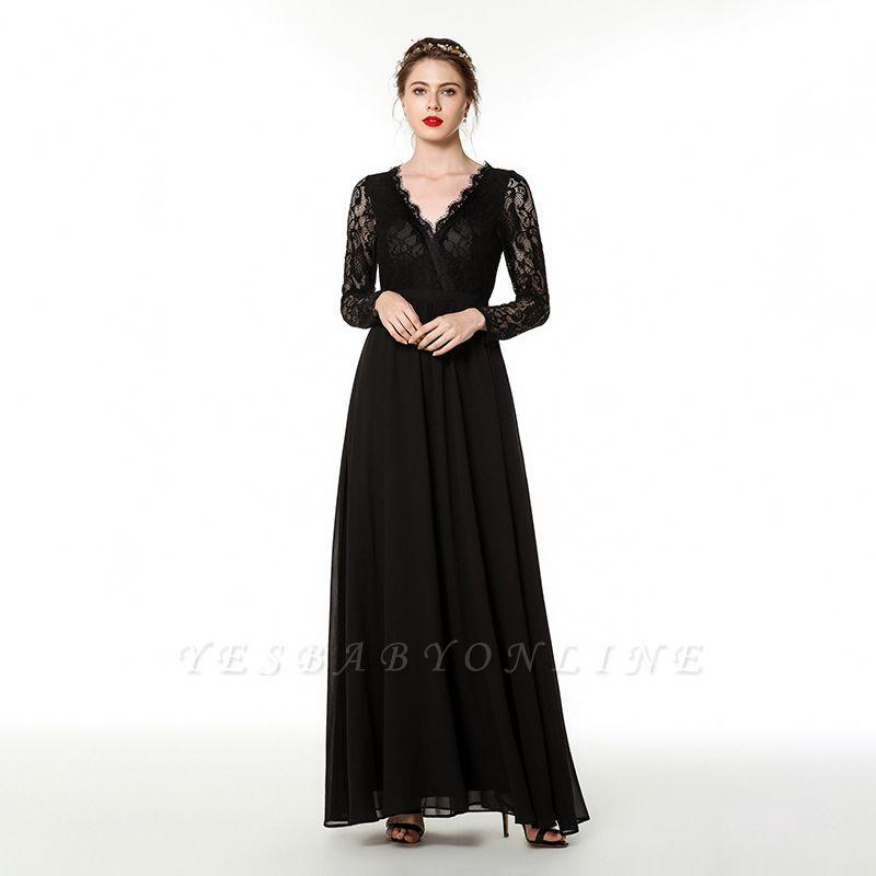 V-neck Long Sleeves Floor Length Lace Prom Dresses | Long Black Evening Dresses