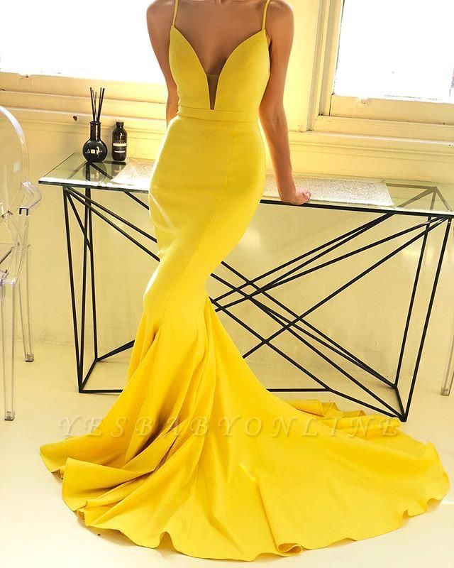 Spaghetti Straps Deep V-neck Yellow Sexy Mermaid Prom Dresses | Chic Style Formal Dresses Long