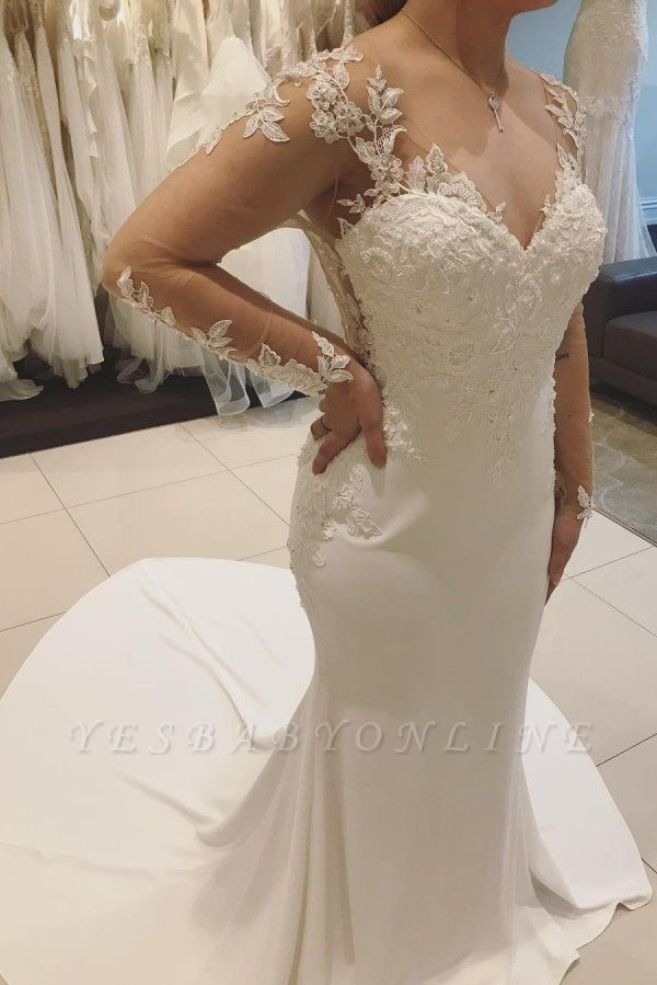 V-neck Sweep Train Fitted Lace Wedding Dresses with Long Sleeves