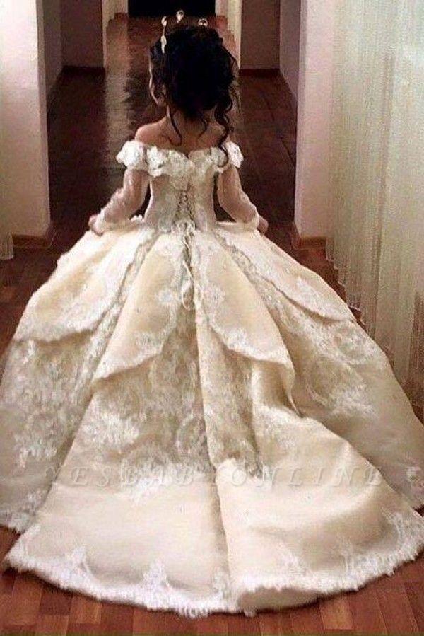 Luxury Ball Gown Flower Girl Dresses | Long Sleeves Girl Party Dresses