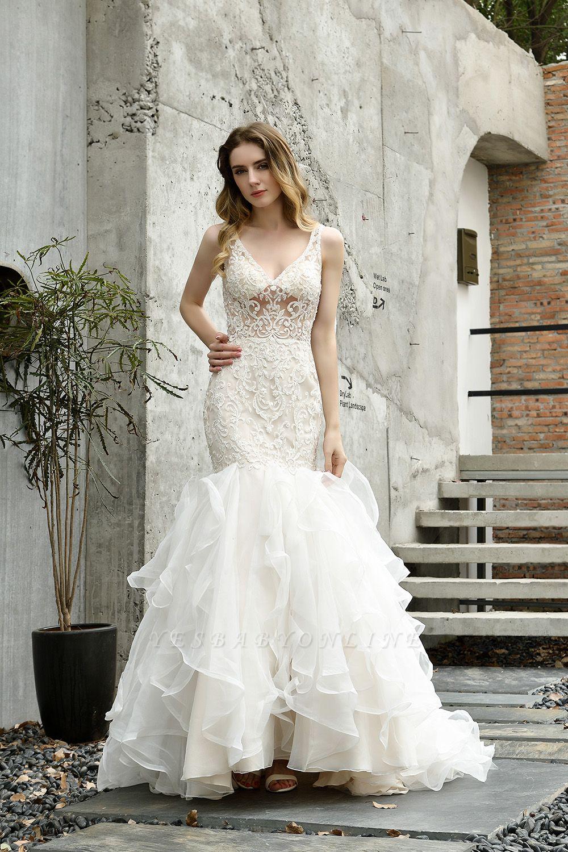 Tulle Lace Sleeveless Sexy Mermaid Wedding Dress