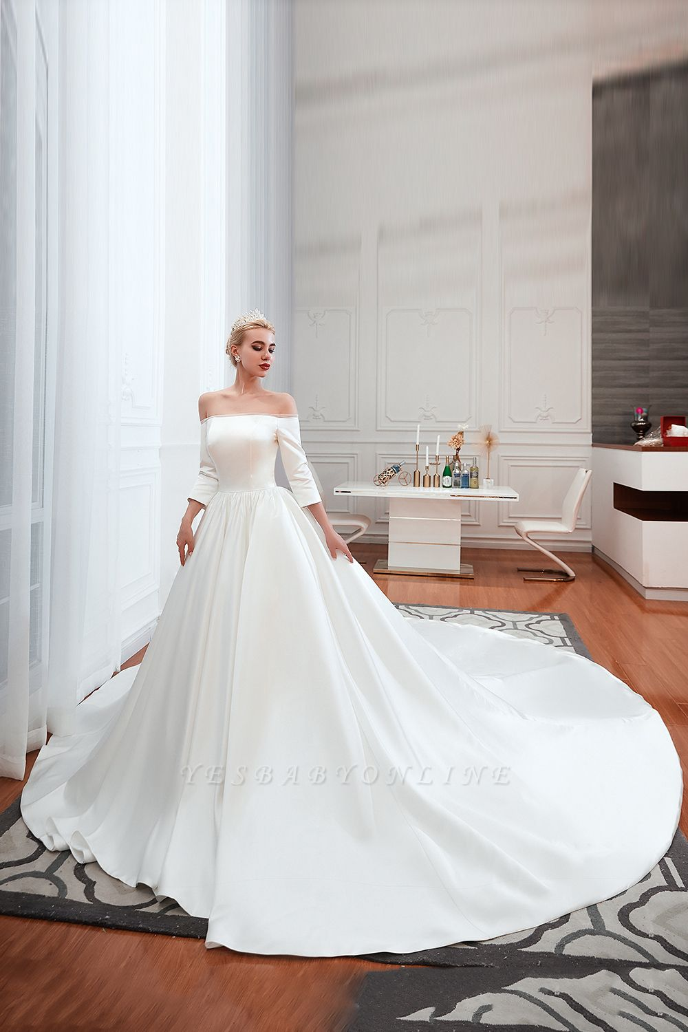 Gorgeous Off the Shoulder Half Sleeves Floor Length A-line Satin Wedding Dresses