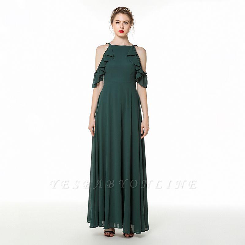 Cold-Shoulder Chiffon Floor Length Jewel Prom Dresses Simple Bridesmaid Dresses