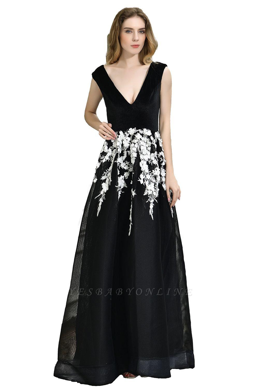 Black Straps Deep V neck A Line Prom Dresses | Applique Lace Corset Back Evening Dresses