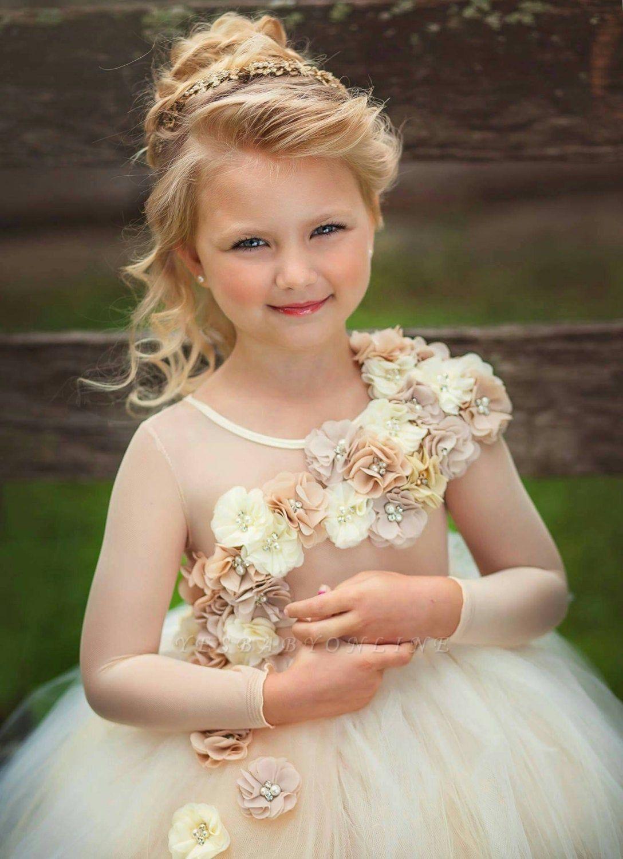 Jewel Sheer Long Sleeves Puffy Tulle Flower Girl Dresses with Handmade Flowers